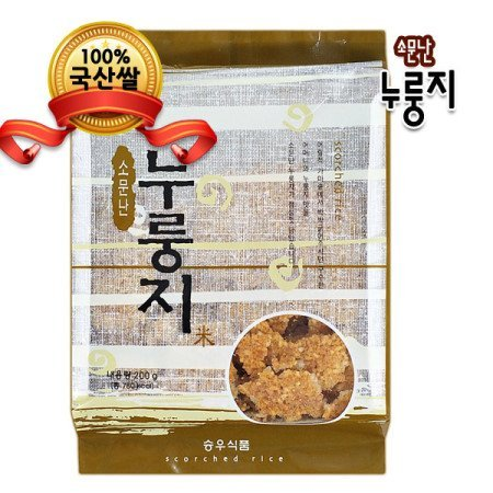 Korean Traditional Healthy Crispy Scorched Rice, Nooroongji 200g (5 Pack) by Seungwoo Foods