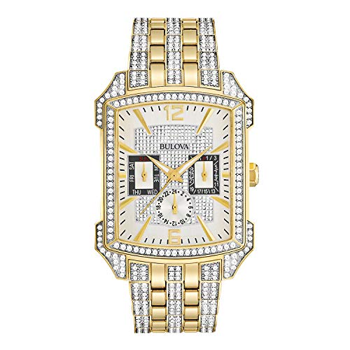 Gold Chronograph Swiss - Bulova Men's  98C109  Swarovski Crystal Pave Bracelet Watch