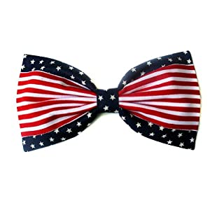 American Stars and Stripes Flag Hair Bow