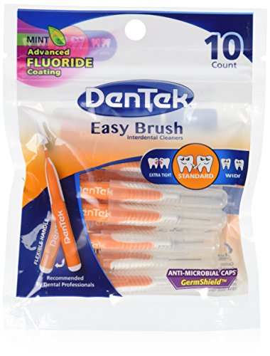 DenTek Easy Brush Interdental Cleaners | Brushes Between Teeth | Standard | Mint Flavor | 10 Count | Pack of 6