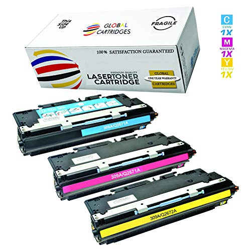 Global Cartridges Compatible Toner Cartridges Set for HP 308A / HP 309A / HP 3500 Series / Q2671A Q2672A Q2673A (Cyan,Yellow,Magenta)