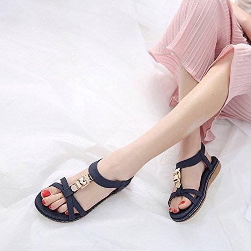 o Chanclas Azul Ba Fiesta de QinMM Mujer Casual de Vestir Sandalias Playa y para de Verano Zapatos Plano UTnw57Aq