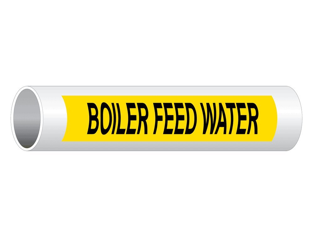 Domestic Hot Water 12x2.5 inch 50-Pack Vinyl for Pipe Markers by ComplianceSigns Black Legend On Yellow Background Pipe Label Decal