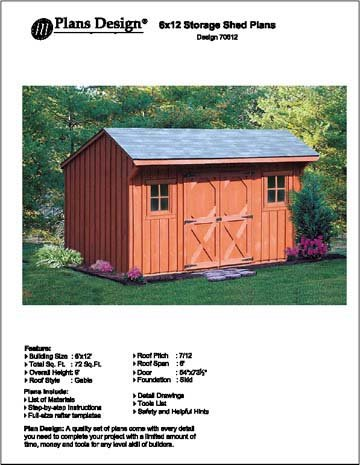 6 x 12 saltbox storage shedplayhouse plans design 70612