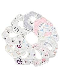 Wheelsp 10 Pack Baby Bandana Drool Bibs Baby 360 Rotate Baby Petal Gauze Bibs-Burp Cloths,Feeding,Waterproof And Absorbent,Drooling And Teething (Multicolor)