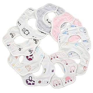 MERLINAE 10 Pack Baby Bandana Drool Bibs Baby 360 Rotate Baby Petal Gauze Bibs-Burp Cloths,Feeding,Waterproof and Absorbent,Drooling and Teething