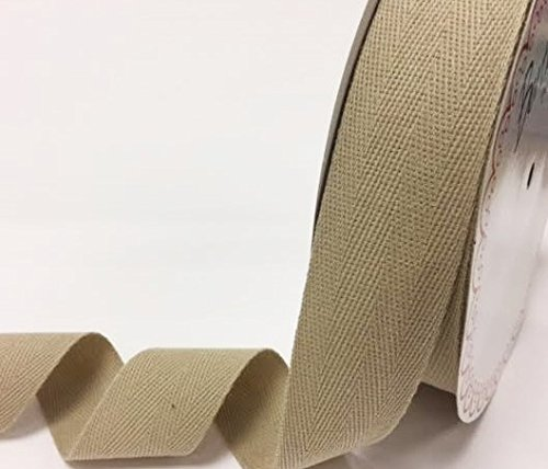 Bertie's Bows 40mm Natural Cotton Herringbone Tape/Webbing on a 4m Length (N.B. this is a cut from a roll, presented on a Bertie's Bows card) Bertie's Bows