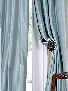 Amazon Com 2pc Light Blue Faux Silk Panel Drape Curtain