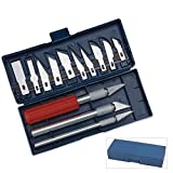 13 pc Hobby Razor Knife Set w/Blades w/Case (Exacto Blades fits knife) Stencil HOBBY knifes 3 HANDLES METAL CHUCK Scalpel Cutter Engraving Metal Tools EC38