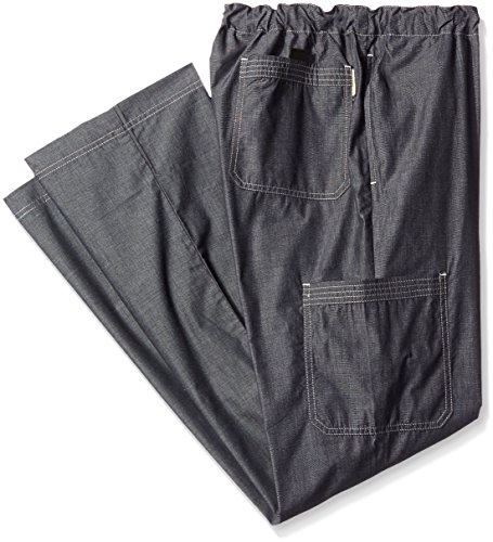 Koi Men's Big and Tall Dylan Yarn-Dye Scrub Pants With Zip Fly and Drawstring Waist, Black, 2X (Koi Mens Scrub Tall)