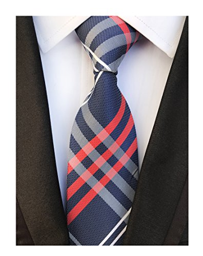 Men Navy Blue Check Red White Fine Striped Tie Long Regular Wedding Necktie Boys