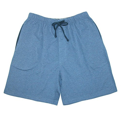 Hanes Men's Jersey Knit Cotton Button Fly Pajama Sleep Shorts, Large, Blue -