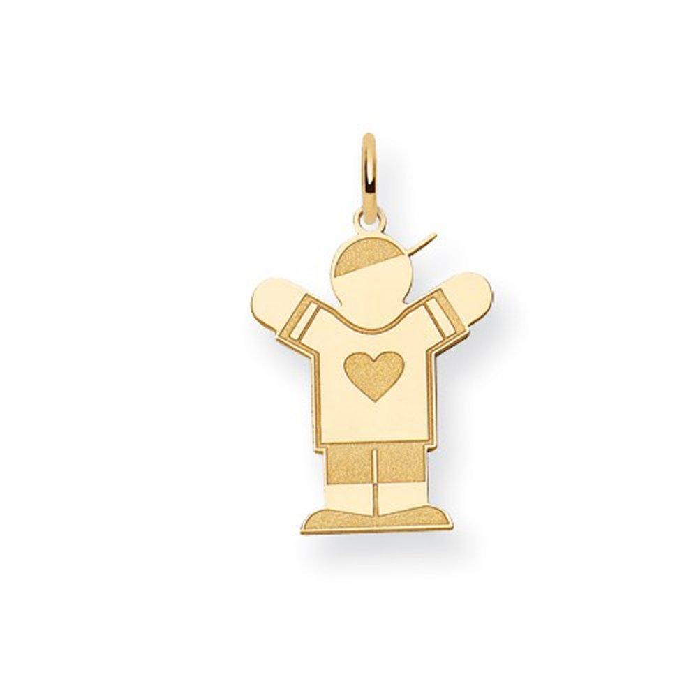 14K Yellow Gold Laser Cut Heart Shirt Kid Boy with Hat Charm Pendant