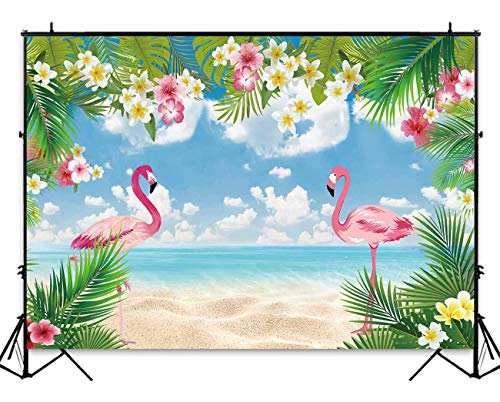 (Funnytree 7x5ft Summer Flamingo Party Backdrop Tropical Hawaiian Beach Luau Photography Background for Birthday Flamingle Sea Palm Floral Baby Shower Decorations Photo Booth Cake Table)