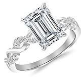 1.13 Ctw 14K White Gold GIA Certified Emerald Cut Twisting Infinity Gold and Diamond Split Shank Pave Set Diamond Engagement Ring, 1 Ct D-E VS1-VS2 Center