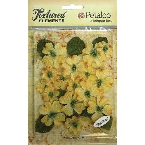 PETALOO 1211-203 Textured Elements canvas Dogwood Blossoms 1 - 1.5 24/Pkg-Yellow by PETALOO B01FGG28LQ