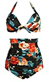 COCOSHIP Retro 50s Black & Colorful Rose Floral Halter High Waist Bikini Carnival Swimwear S(FBA)