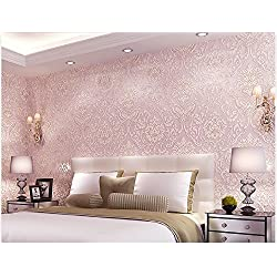Removable Peel and Stick Pink Damask Wallpaper Mural Roll Prepasted Self Adhesive Non-woven Fabric Home Decor Wall Paper
