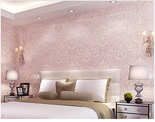 (Removable Peel and Stick Pink Damask Wallpaper Mural Roll Prepasted Self Adhesive Non-woven Fabric Home Decor Wall Paper)