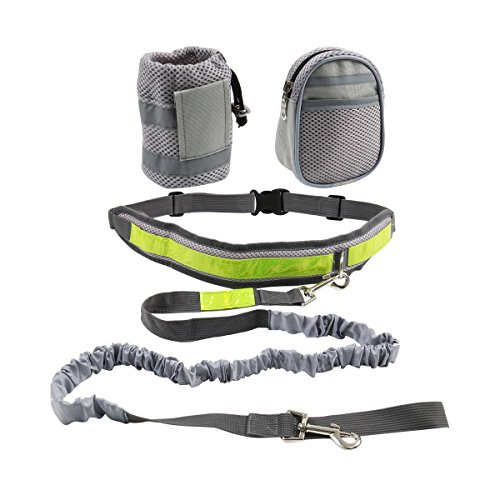 Cusfull Hands Free Dog Leash Elastic with Reflective Stripe, Adjustable Waist Belt and Flexible Bungee Belt +2 Waist Pack Bags