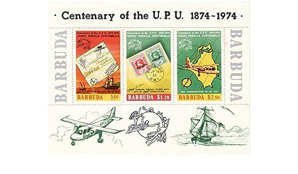 Stampbank Hoja miniatura de Barbuda en conmemoración del Centenario de la Unión Postal Universal en 1974 Hay 3 sellos, con un FV de 4,05 dólares bisagras: Amazon.es: Juguetes y juegos