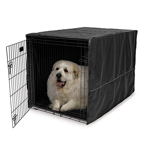 48″L x 30″W x 33″H, 100% Polyester, Hook & Loop Tabs Crate Cover in Black