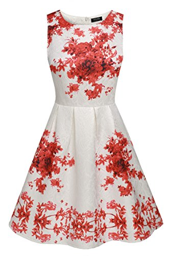 Rockabilly Inspired Cocktail 50's Hepburn Swing Audrey Women's Dress ACEVOG Red5 Vintage q4wXYnT