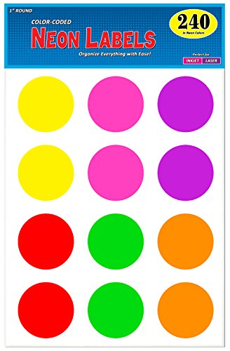 Pack of 240, 2 Inch Multi-Color Round Color Coding Labels for Laser and Inkjet Printers, Assorted Neon Fluorescent Colors