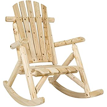 wood rocking chair runners uk indoor white unfinished canada best choice products hardwood log single rocker natural