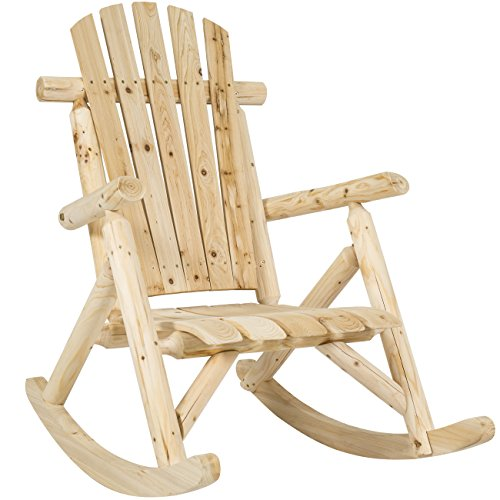 Best Choice Products Wood Log Rocking Chair Single Rocker Natural