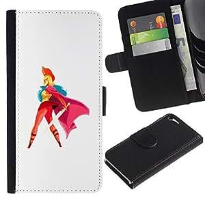 ZCell / Apple Iphone 5 / 5S / Heroine Cape Sword Red Woman Blonde Art / Caso Shell Armor Funda Case Cover Wallet / Heroína Capa Espada Roj