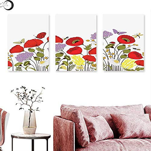 J Chief Sky Green Flower Canvas Wall Art Hand Drawn Nature Scene with Foliage and Fauna Elements Honey Bees Butterflies Triptych Art Set Multicolor Triptych Art Canvas W 20