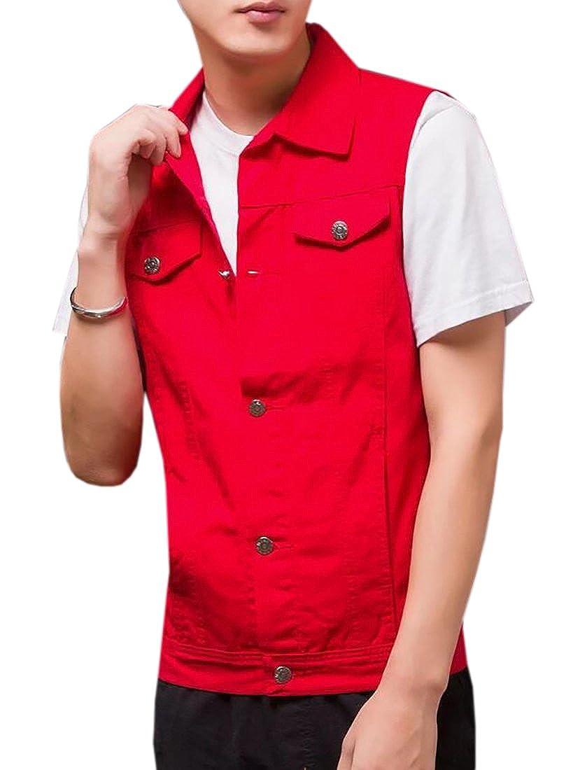 BU2H Men's Button Front Sleeveless Slim Fit Denim Vest Jacket