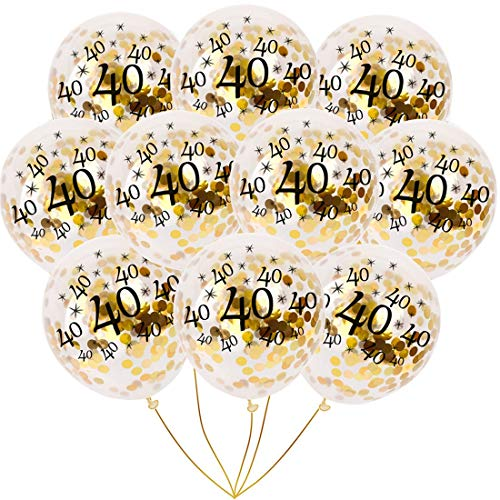 BudiCool 40th Birthday Decorations 12 Inches Gold Confetti Balloons for Happy Birthday Party Supplies 40th Anniversary Decorations(Pack of 16) -