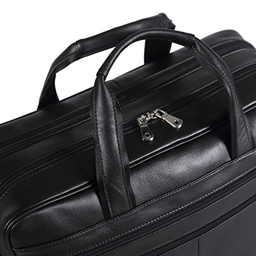 Polare Real Soft Nappa Leather 17 Laptop Case Professional Briefcase Business Bag For Men (Black) by Polare (Image #8)