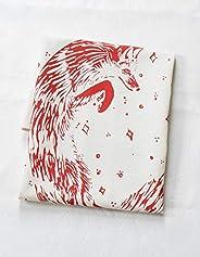 Organic Cotton Fox Tea Towel in Red