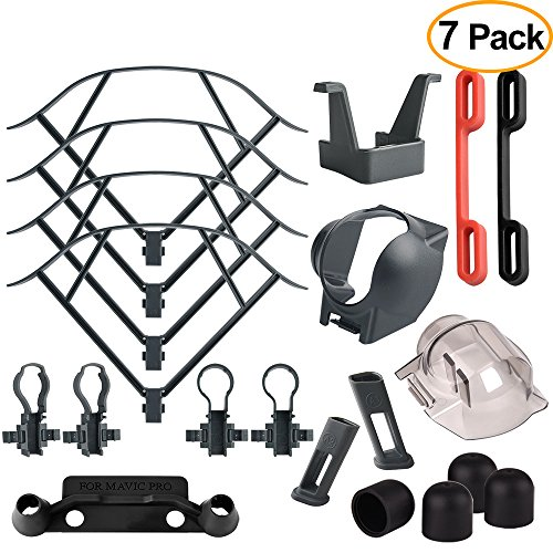 Smartphone Accessory Bundle Kit (Kuuqa 7 Pack Accessory Kits for Mavic Pro, Propeller Prop Guard, Landing Gear Extender, Lens Hood, Remote Controller Joystick Protector, Propeller Guard Fixator, Gimbal Guard Protector, Motor Cap)
