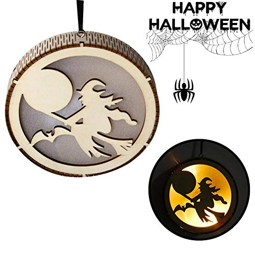 BTLIFE Wooden Round Shape Hollow-Out Carving Hanging Pendant LED Light for Halloween Decor