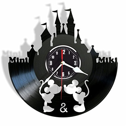 (Rosidesignstudio Cute mouses Love Story Kids Vinyl Wall Clock- Modern Room Decor - Unique Handmade Gift for Friends and Someone You Love)