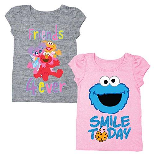 Sesame Street Short Sleeve Shirt – 2 Pack of Tees – Elmo, Cookie Monster, Ernie, Bert, Oscar The Grouch, Grover & Big Bird! (Pink/Grey, 4T)