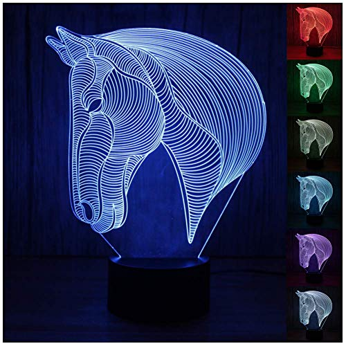Horse 3D Night Light,3D LED Optical Illusions Desk Lamp,3d Illusion Night Light with 7 Color Changing Bedroom Decor Night Light for Kids Children(Horse Head) ()