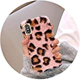 Winter Plush Leopard Dot Phone Case for iPhone 7 8 6 6s Plus X Soft Rabbit Hair Fur Case for iPhone...