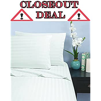 "Elegant Comfort ""CLOSEOUT DEAL"" 1500 Thread Count STRIPE Wrinkle & Fade Resistant Egyptian Quality Ultra Soft Luxurious 3-Piece Bed Sheet Set with Deep Pockets, Twin White"