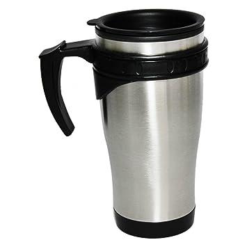 COM-FOUR - Vaso térmico para llevar (incluye asa y tapa, acero inoxidable, 450 ml)