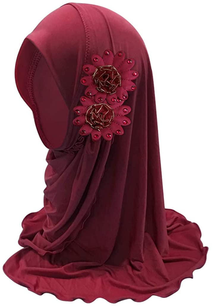 Girls Hijab Scarf with Flowers, Breathable Soft Muslim Hijab Islamic Scarf Shawl