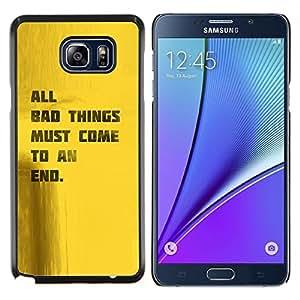 """Be-Star Único Patrón Plástico Duro Fundas Cover Cubre Hard Case Cover Para Samsung Galaxy Note5 / N920 ( Cita Good Life Bad Things Fin motivación"""" )"""