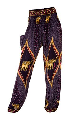 Elephant con 18 ALADDIN Dark HAREM HIPPIE diversi pantaloni pantaloni Blue motivi Peacock RXWX8Tq