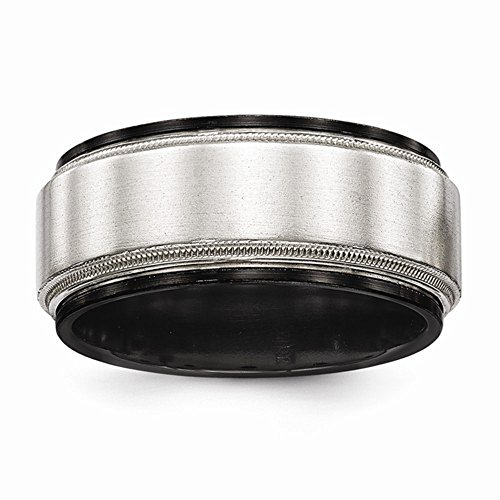 Edward Mirell Black Titanium & Sterling Silver Satin and High Polish Finish Milgrain Wedding Band - Size 14 by Edward Mirell