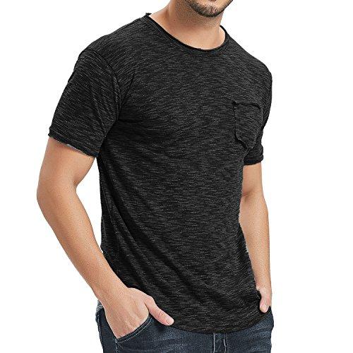Moomphya Men's Casual Hop Hip Hipster Short Sleeve Round Hem Basic Ripped T-Shirts (Black, X-Large)