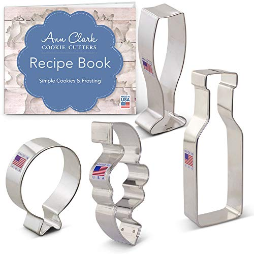 New Year's/Celebration Cookie Cutter Set - 4 piece- Balloon, Confetti, Champagne Glass, Champagne - Ann Clark - US Tin Plated Steel